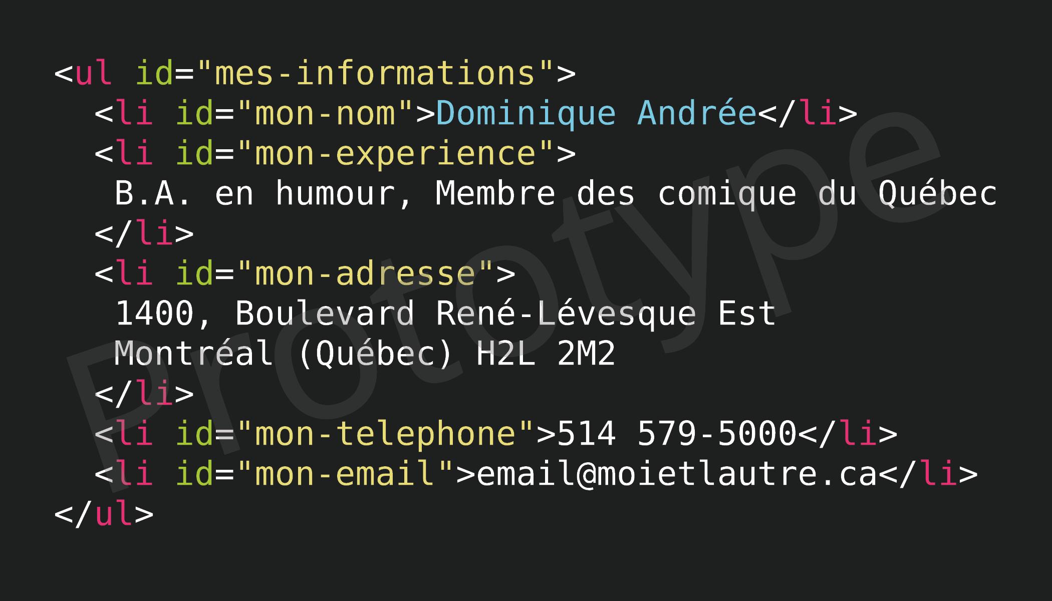 Modèle de carte d'affaire appelée « macarte.html ».
